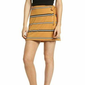 BP. Nordstrom mini wrap Skirt Mustard black/white